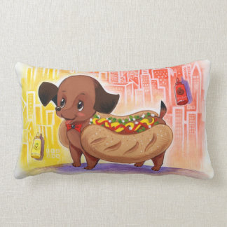 Cachorro quente no travesseiro da cidade almofada lombar