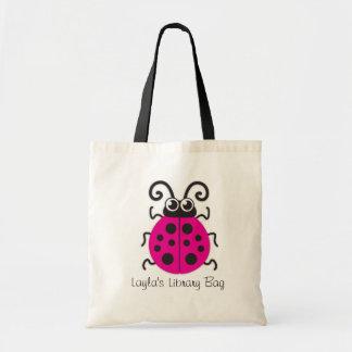 Caçoa o saco cor-de-rosa bonito da biblioteca do sacola tote budget