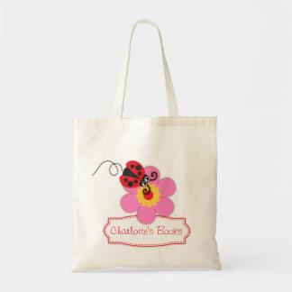 Caçoa o saco vermelho da biblioteca da flor do joa sacola tote budget