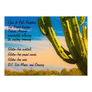 Cacto colorido do deserto em um céu azul convite 12.7 x 17.78cm