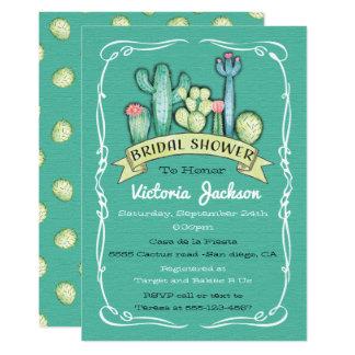 Cacto da aguarela e chá de panela do Succulent Convite 12.7 X 17.78cm