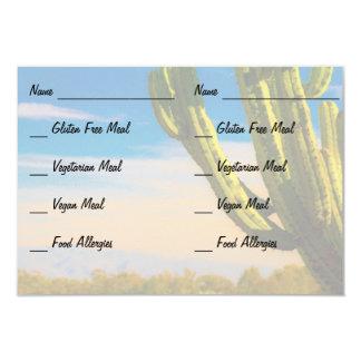 Cacto do deserto no cartão da alergia de comida do convite 8.89 x 12.7cm