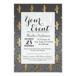 Cacto do ouro no inclinação chique moderno dos convite 8.89 x 12.7cm