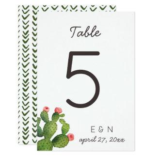 Cacto floral cor-de-rosa - número da mesa convite 8.89 x 12.7cm