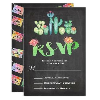 Cacto mexicano RSVP da aguarela do casamento Convite 8.89 X 12.7cm