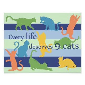 Cada vida merece citações engraçadas do gato de 9 impressão de foto