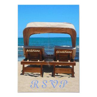 Cadeiras do casamento de praia na areia convite 8.89 x 12.7cm
