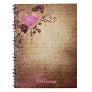 Caderno antigo do coração do falso elegante