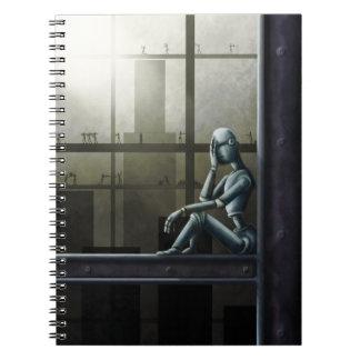 caderno ciente do scifi do robô do auto