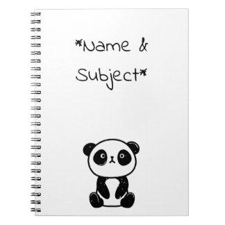 Caderno de assento do urso de panda