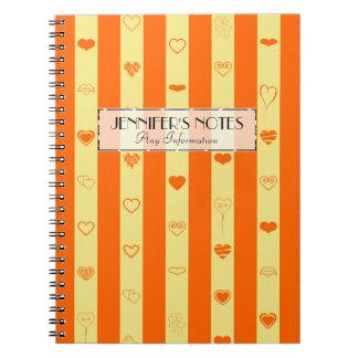 Caderno Espiral A laranja elegante listra o teste padrão moderno