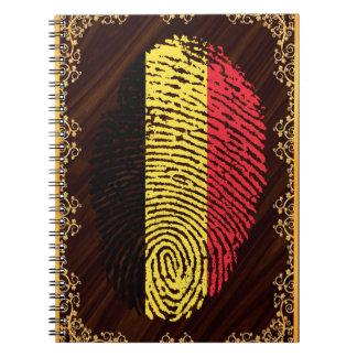 Caderno Espiral Bandeira belga da impressão digital do toque