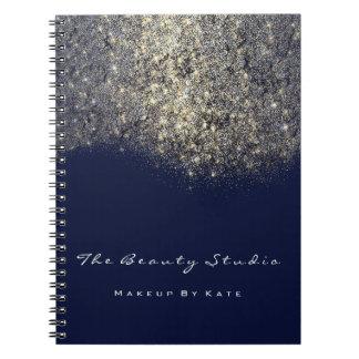 Caderno Espiral Brilho azul do ouro do artista do marinho da