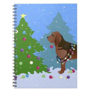 Caderno Espiral Cão do Bloodhound que decora a árvore de Natal