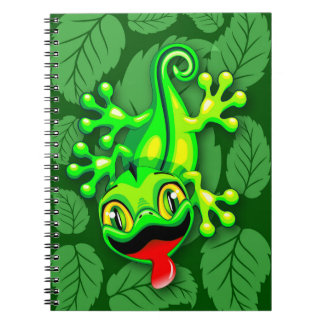 Caderno Espiral Desenhos animados do bebê do lagarto do geco