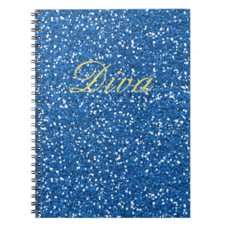 Caderno Espiral Diva azul do brilho do falso