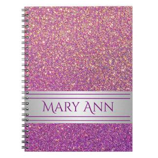 Caderno Espiral Falso roxo personalizado do brilho dos confetes
