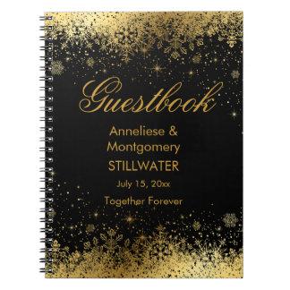 Caderno Espiral Flocos de neve à moda do preto e do ouro -