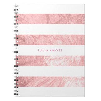Caderno Espiral Folha de ouro cor-de-rosa do falso de