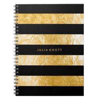 Caderno Espiral Folha de ouro do falso de PixDezines/listras