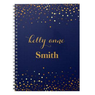 Caderno Espiral Folha kraft glamoroso do falso do brilho do ouro