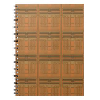 Caderno espiral geométrico alaranjado intrincado