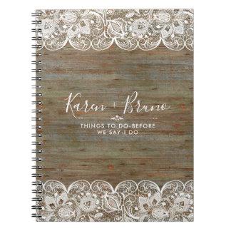 Caderno Espiral Madeira rústica do falso & laço branco