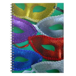Caderno Espiral Máscaras coloridas do brilho