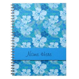 Caderno Espiral O hibiscus floresce o Batik azul