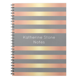Caderno Espiral O inclinação cor-de-rosa moderno elegante do ouro