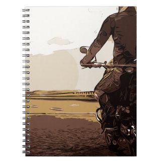 Caderno Espiral O motociclista, um motociclista na estrada