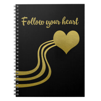 Caderno Espiral O ouro do falso no preto segue seu coração