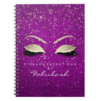 Caderno Espiral O ouro do rosa do rosa da composição dos olhos do