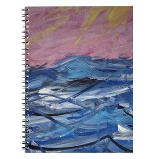 Caderno Espiral Ondas de oceano e ajuste Sun abstratos