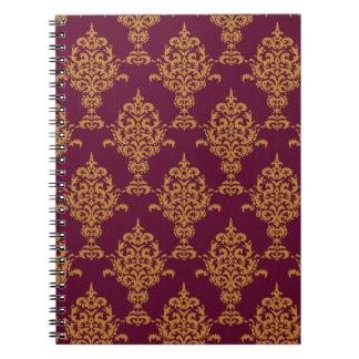Caderno Espiral Ouro do damasco em Borgonha