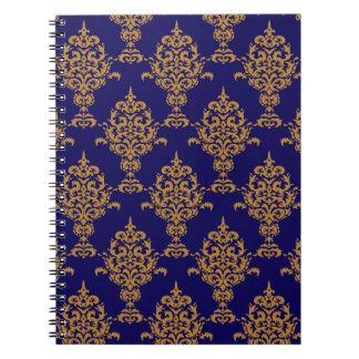 Caderno Espiral Ouro do damasco no azul