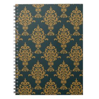Caderno Espiral Ouro do damasco no verde