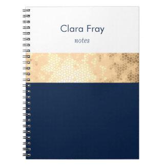 Caderno Espiral ouro elegante do falso, azul marinho, listras