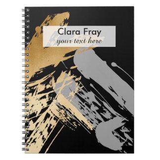 Caderno Espiral ouro elegante do falso e brushstrokes cinzentos