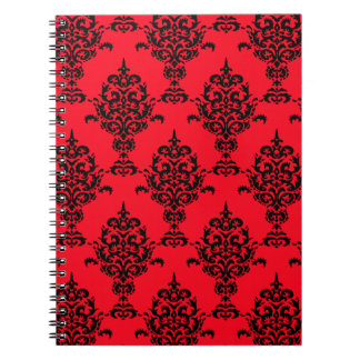 Caderno Espiral Preto do damasco no vermelho