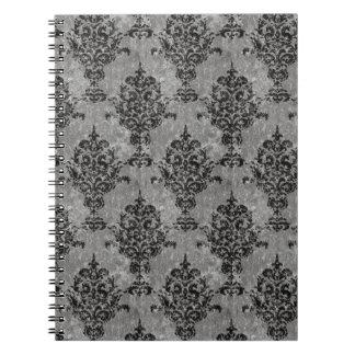 Caderno Espiral Preto gótico do damasco em cinzas