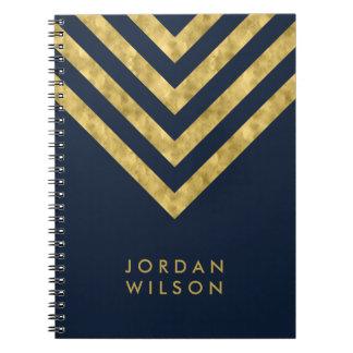 Caderno Espiral Teste padrão conhecido azul elegante de Chevron do