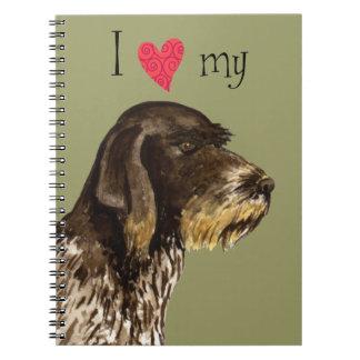 Caderno Eu amo meu ponteiro Wirehaired alemão
