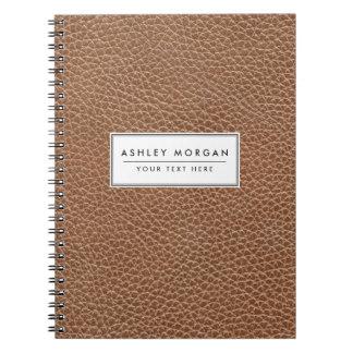 Caderno Falso Brown natural de couro
