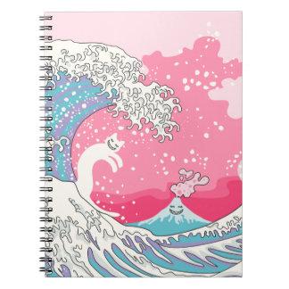Caderno Gato do surfista de Psychodelic Bubblegum Kunagawa