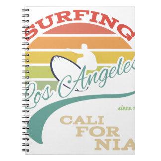 Caderno Ilustração do surf de Califórnia, gráficos do