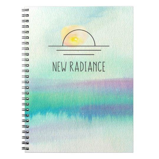 Caderno incorporado do logotipo da aguarela nova
