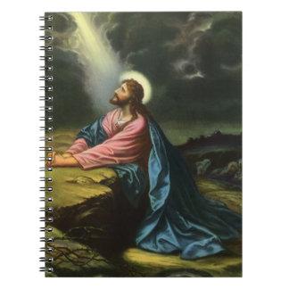 Caderno Jesus Cristo do vintage que Praying em Gethsemane
