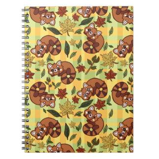 Caderno Panda vermelha frondosa