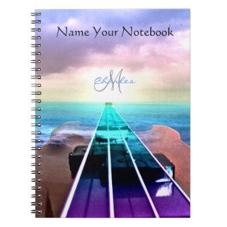 Caderno personalizado da música da guitarra baixa